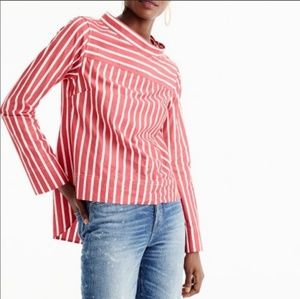 J. Crew red and white striped funnelneck blouse